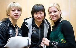 Marina Vergeljuk,  Ljudmila Bodnjeva and Spela Cerar at press conference of women handball club RK Krim Mercator,  on October 20, 2009, in M Hotel, Ljubljana, Slovenia.   (Photo by Vid Ponikvar / Sportida)