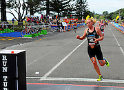 Sophie Corbidge of New Zealand an the run during the 2015 New Plymouth ITU Triathlon World Cup held at Ngamotu beach New Plymouth Sunday 22nd March.<br /> Photo John Velvin ESPNZ<br /> www.elitesportsphotographynz.com