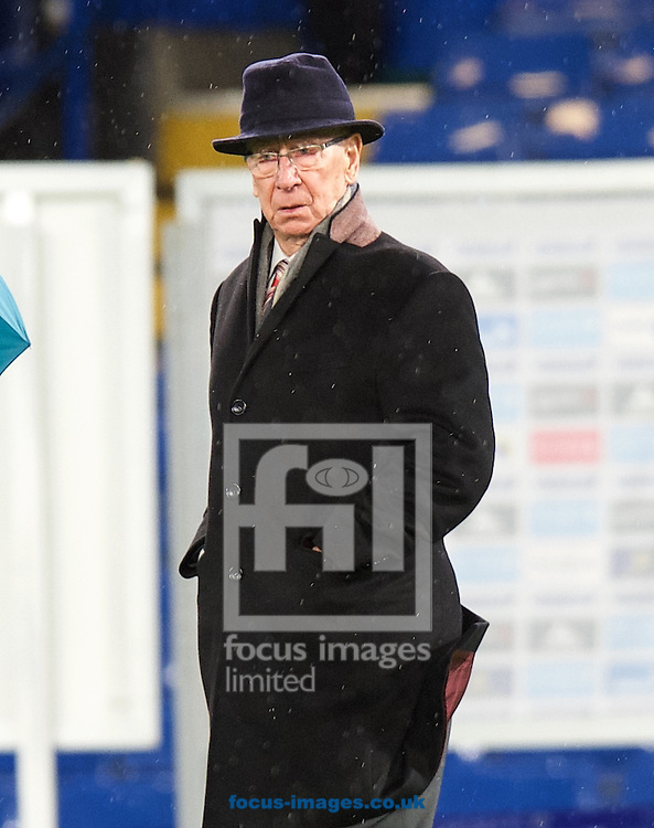 Sir Bobby Charlton leaving the ground after the Barclays Premier League match at Stamford Bridge, London<br /> Picture by Alan Stanford/Focus Images Ltd +44 7915 056117<br /> 07/02/2016