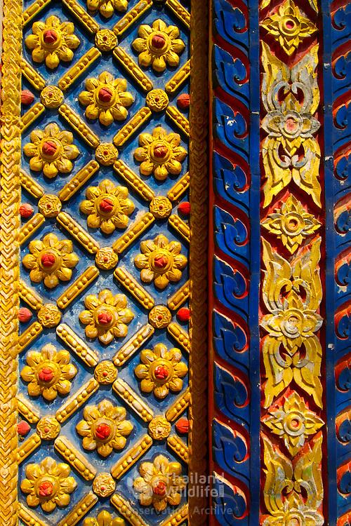 Gate detail of Wat Khonburi at  Khorat (Nakorn Ratchasima) in Thailand.  View is March 2007.