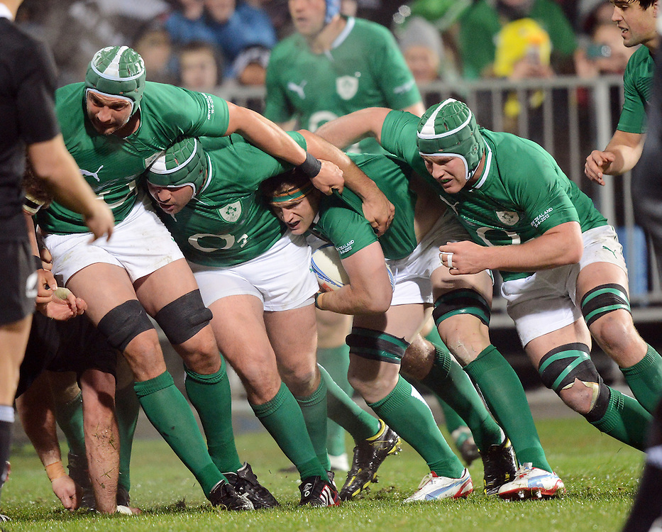Ireland's forwards Dan Tuohy, left, Rory Best, Jamie Heaslip and Sean O'Brien off a ruck against New Zealand in the International 2nd test rugby match at AMI Stadium, Christchurch, New Zealand, Saturday, June 16, 2012. Credit:SNPA / Ross Setford