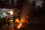 Music and writing at the camp fire, Sunset bay State Park, Oregon