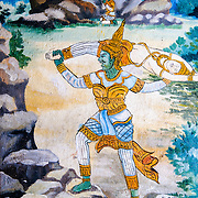Part of a painting on the exterior of the temple at Wat Phonxay Sanasongkham in Luang Prabang, Laos.
