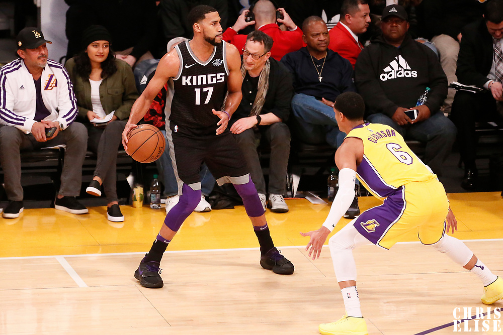 09 January 2018: Los Angeles Lakers guard Jordan Clarkson (6) defends on Sacramento Kings guard Garrett Temple (17) during the LA Lakers 99-86 victory over the Sacramento Kings, at the Staples Center, Los Angeles, California, USA.