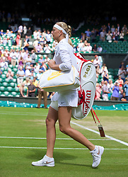 LONDON, ENGLAND - Friday, June 27, 2014: Petra Kvitova (CZE) walks onto centre court before the Ladies' Singles 3rd Round match on day five of the Wimbledon Lawn Tennis Championships at the All England Lawn Tennis and Croquet Club. (Pic by David Rawcliffe/Propaganda)