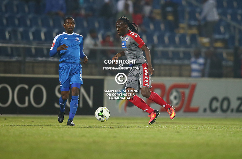 Reneilwe Letsholonyane of SuperSport United on the ball during the 2016 Premier Soccer League match between Maritzburg Utd and SuperSport United held at the Harry Gwala Stadium in Pietermaritzburg, South Africa on the 21st September 2016<br /> <br /> Photo by:   Steve Haag / Real Time Images