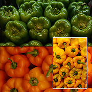 Green Pepper in food market<br /> <br /> Bell pepper (also known as Jon's Head or a pepper) Red and green bell peppers are high in para-coumaric acid.