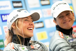 Anamarija Lampic and Katja Visnar during press conference of Slovenian Nordic Ski Cross country team before new season 2019/20, on Novamber 8, 2019, in SZS, Ljubljana, Slovenia. Photo by Vid Ponikvar / Sportida