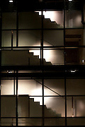 Stairs of the University of Virginia Architecture school lit at night.
