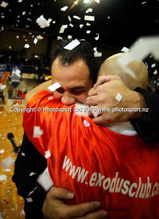 Saints coach Pero Cameron hugs George Le'afa after the win. NBL finals game three - Wellington Saints v Waikato Pistons at TSB Bank Arena, Wellington on Thursday, 1 July 2010. Photo: Dave Lintott/PHOTOSPORT