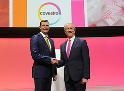 Germany, Bonn  -  April 13, 2018.Annual press conference of  Covestro AG  .From left Markus Steilemann and Patrick Thomas (Credit Image: © Sepp Spiegel/Ropi via ZUMA Press)