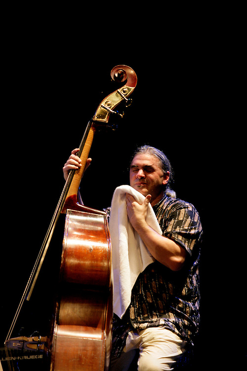 "Bass player Ken Filiano during a ""Lou Grassi's avanti Galopi""performance.""Jazz ao Centro"" jazz festival is held twice a year in portuguese town of Coimbra."
