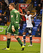 Bolton Forward, Shola Ameobi cant believe his goal is given off side during the Sky Bet Championship match between Bolton Wanderers and Bristol City at the Macron Stadium, Bolton, England on 7 November 2015. Photo by Mark Pollitt.