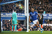 Everton forward Dominic Calvert-Lewin (9) celebrates Everton forward Richarlison (7) goal 1-0  during the Premier League match between Everton and Chelsea at Goodison Park, Liverpool, England on 7 December 2019.