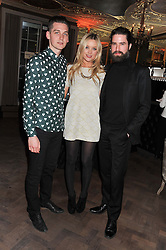 Left to right, GEORGE CRAIG, LAURA WHITMORE and JACK GUINNESS at the Baileys Spirited Women party at Cafe Royal Hotel, Regent's Street, London on 21st March 2013.