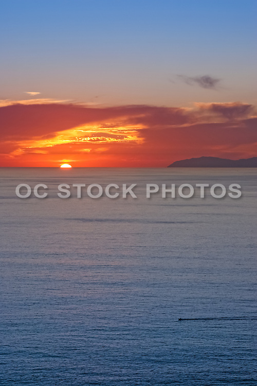 Sunset over the Pacific Ocean in Orange County California