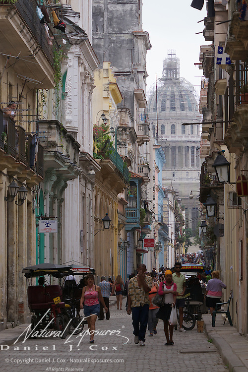 Street scenes in Havana, the capitol building in the background. Cuba.