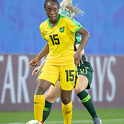 GRENOBLE, FRANCE June 18.  Tiffany Cameron #15 of Jamaica effete by Ellie Carpenter #21 of Australia during the Jamaica V Australia, Group C match at the FIFA Women's World Cup at Stade des Alpes on June 18th 2019 in Grenoble, France. (Photo by Tim Clayton/Corbis via Getty Images)