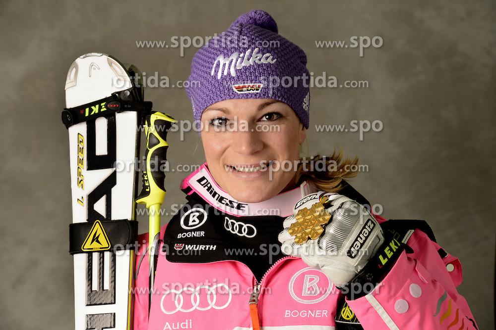 08.02.2013, Planai, Schladming, AUT, FIS Weltmeisterschaften Ski Alpin, Super Kombination, Damen, Medaillen Praesentation, im Bild Goldmedailllen Gewinnerin Maria Hoefl-Riesch (GER) // Maria Hoefl-Riesch of Germany poses with her Gold Medal during Ladies Super Combined Medal Presentation at .the FIS Ski World Championships 2013 at the Planai Course, Schladming, Austria on 2013/02/06 ***** ACHTUNG: VERÖFFENTLICHUNGS- SPERRFRIST 18:30 Uhr ***** Bild bei redaktioneller Verwendung honorarfrei// ***** PLEASE NOTE: Publication EMBARGO 18:30 clock ***** Bild zur redaktionellen Nutzung Honorarfrei. EXPA Pictures © 2013, PhotoCredit: EXPA/ Erich Spiess