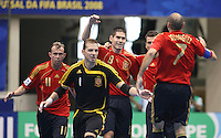 Fussball  International  FIFA  FUTSAL WM 2008   03.10.2008 Vorrunde Gruppe D Libya - Spain Lybien - Spanien Von links MARCELO (ESP); LUIS AMADO (ESP); KIKE (ESP); TORRAS (ESP) und Javi RODRIGUEZ (ESP) freuen sich nach einem Tor.