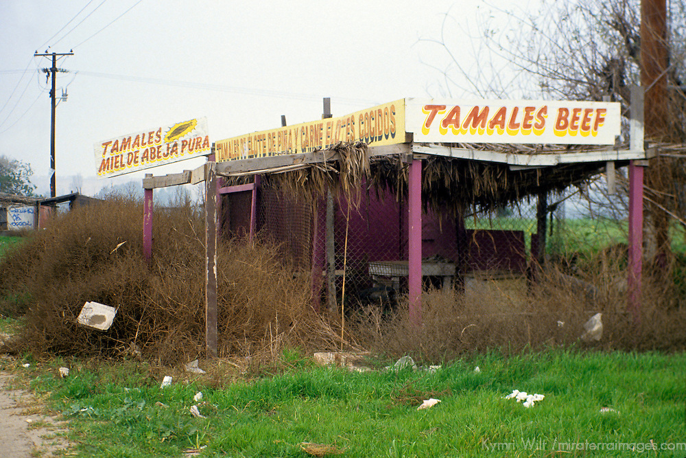 Mexico, Baja California, Ensenada. Tamales and trash at the roadside in Baja.
