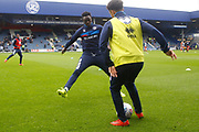 Queens Park Rangers players warm up before kick off during the EFL Sky Bet Championship match between Queens Park Rangers and Birmingham City at the Loftus Road Stadium, London, England on 28 April 2018. Picture by Andy Walter.