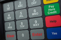 Close up of buttons on gas pump