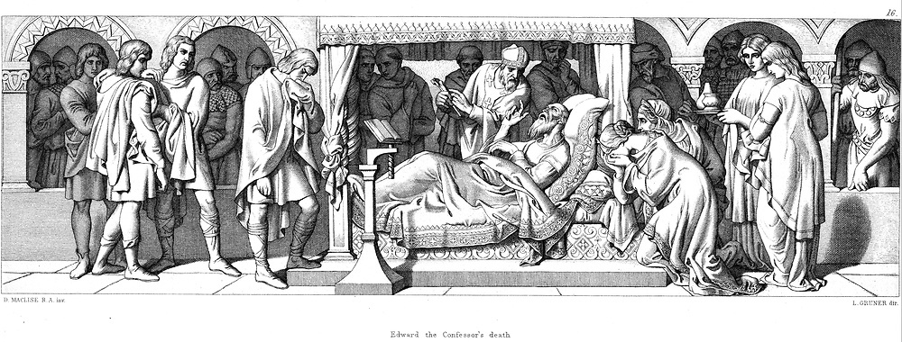 Death of Edward The Confessor (c1003-1066). Anglo-Saxon king of England from 1042. Edward's death. Illustration by Daniel Maclise for 'The Story of The Norman Conquest', London, 1866. Engraving.