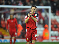 Bristol City's Cole Skuse thanks the fans for turning up after Referee Michael Naylor calls the game off - Photo mandatory by-line: Joe Meredith/JMP  - Tel: Mobile:07966 386802 26/12/2012 - Bristol City v Watford - SPORT - FOOTBALL - Championship -  Bristol  - Ashton Gate Stadium -
