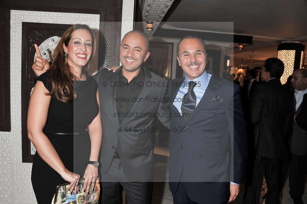 Left to right, ASMAA HASSOUNI Area Manager UK Royal Air Maroc, NADIR KHAYAT better known as RedOne a Moroccan producer and songwriter and the Deputy Head of Mission of the Embassy of the Kingdom of Morocco OTHMANE BAHNINI at the Inspiring Morocco launch held at Harrods, Knightsbridge, London on 3rd November 2011.