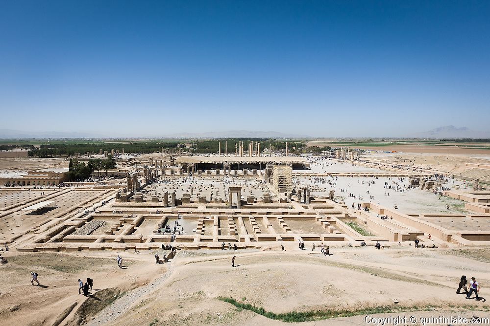 Panoramic view of Persepolis was the ceremonial capital of the Persian Empire (550-330 BC) during the Achaemenid dynasty. Persepolis, Iran, 2008