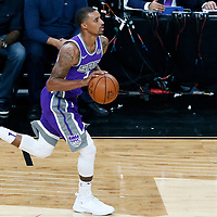 08 October 2017: Sacramento Kings guard George Hill (3) brings the ball up court during the LA Lakers 75-69 victory over the Sacramento Kings, at the T-Mobile Arena, Las Vegas, Nevada, USA.