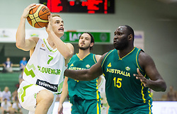 Klemen Prepelic of Slovenia vs Nathan Jawai of Australia during friendly basketball match between National teams of Slovenia and Australia, on August 3, 2015 in Arena Tri lilije, Lasko, Slovenia. Photo by Vid Ponikvar / Sportida
