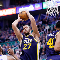 25 January 2016: Utah Jazz center Rudy Gobert (27) grabs the rebound during the Detroit Pistons 95-92 victory over the Utah Jazz, at the Vivint Smart Home Arena, Salt Lake City, Utah, USA.