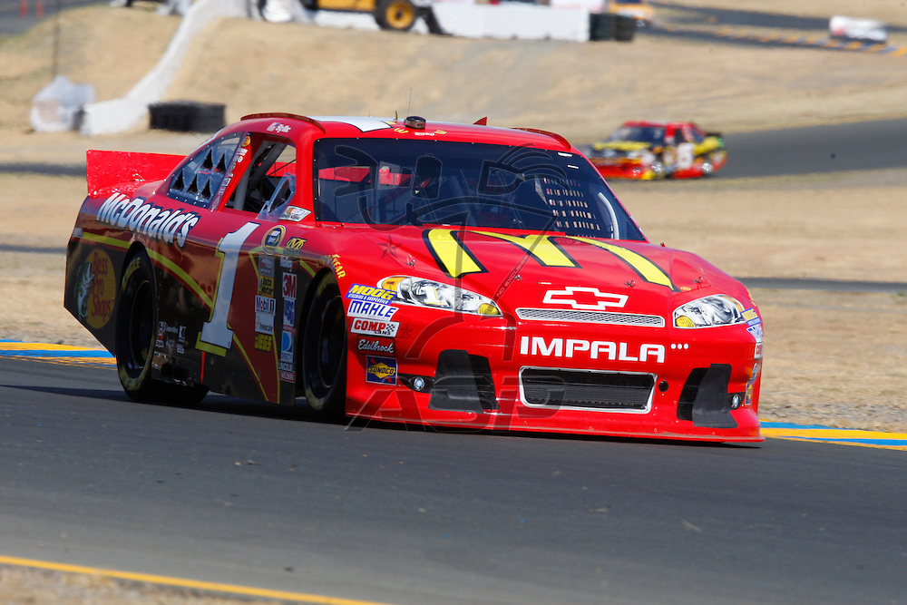 SONOMA, CA - JUN 23, 2012:  Jamie McMurray (1) brings his car through turn 10 during a practice session for the Toyota Save Mart 350 at the Raceway at Sonoma in Sonoma, CA.