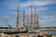 The United States Coast Guard training ship Eagle and the Brazilian Navy training ship Cisne Branco, which means White Swan, seen here moored at Fort Trumbull in New London, Connecticut on the last day of OpSail 2012, celebrating the bicentennial of the War of 1812 and the penning of the Star Spangled Banner, the US National Anthem. These were the only Class A square-riggers to arrive at OpSail's final port.