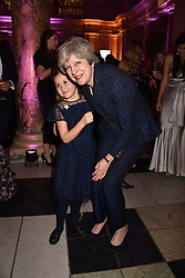 The Prime Minister Theresa May and Miss Aliena Wigan at The Sugarplum Dinner 2017 to benefit the type 1 diabetes charity JDRF held at the Victoria & Albert Museum, Cromwell Road, London England. 14 November 2017.<br /> Photo by Dominic O'Neill/SilverHub 0203 174 1069 sales@silverhubmedia.com