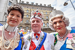 © Licensed to London News Pictures. 08/07/2017. London, UK. People dressed as royalty at the head of the parade.  Tens of thousands of visitors, many wearing eye-catching costumes, gather to watch and take part in the annual Pride in London Parade, the largest celebration of the LGBT+ community in the UK.   Photo credit : Stephen Chung/LNP