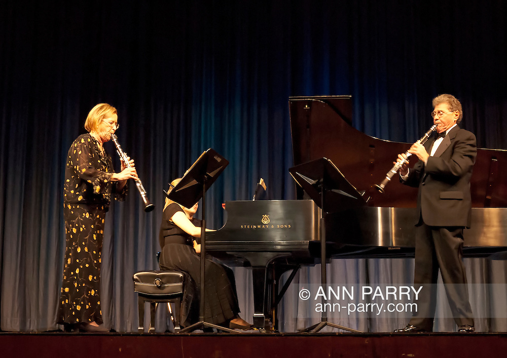 Stanley Drucker, world famous clarinetist and former member of New York Philharmonic for 60 years, and Naomi Drucker, clarinetist and her wife, performing at MBCCA Concert, New York, November 13, 2010