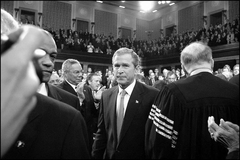 President Bush walks to the podium in the U.S. House before adressing the nation. 9/20/01..©PF BENTLEY/PFPIX.com