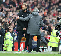 Jurgen Klopp manager of Liverpool and Jose Mourinho manager of Manchester United ManU exchange handshake at the end of the match during the Premier League match at the Old Trafford Stadium, Manchester. Picture date: 10th March 2018. <br />  PUBLICATIONxNOTxINxUK