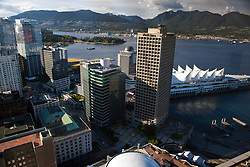 Aerial view of downtown Vancouver, Canada Place and North Shore, British Columbia, Canada
