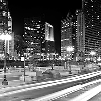 Chicago Wacker Drive at State Street with Trump Tower, Wrigley Building, 333 North Michigan, London Guarantee Building / Crain Communications Building (360 North Michigan) Mather Tower (75 East Wacker Drive), and Hotel 71.