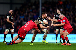 Sam Simmonds of Exeter Chiefs is challenged by Vincent Koch of Saracens and Jamie George of Saracens - Mandatory by-line: Ryan Hiscott/JMP - 29/12/2019 - RUGBY - Sandy Park - Exeter, England - Exeter Chiefs v Saracens - Gallagher Premiership Rugby