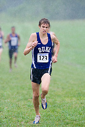James Kostelnik (123/Duke University).  The Lou Onesty Invitational Cross Country meet was hosted by the University of Virginia XC team and held at Panorama Farms near Charlottesville, VA on September 6, 2008.  Athletes endured rain and wind from Tropical Storm Hanna during the race.