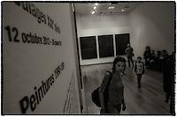"""LYON, FRANCE - NOVEMBER 02: Soulages, 21th century..Exhibition dedicated to the french painter Pierre Soulages, .pictured in Lyon, France on November 01, 2012...You must have all the necessary authorizations from the """"Musee des Beaux Arts"""" in Lyon before to use one or more of these images. 33 ??(0) 4.72.10.17.40.Vous devez demander les autorisations nécessaires auprès du Musée des Beaux Arts de Lyon avant de pouvoir utiliser une ou plusieurs de ces images..MBA: 33 (0)4.72.10.17.40"""