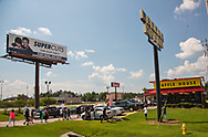 Saraland Alabama, May 20, 2018, Supporrters of Chikesia Clemons marching into the Waffle House where Chikesia Clemons was arrested and let Waffle House no that<br /> they plan to boycott the establishment.