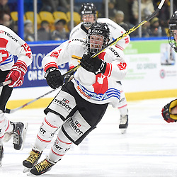 WHITBY, - Dec 13, 2015 -  WJAC Game 2- Team Switzerland vs Team Canada East at the 2015 World Junior A Challenge at the Iroquois Park Recreation Complex, ON. Yannick Lerch #18 of Team Switzerland skates up the ice during the second period.<br /> (Photo: Andy Corneau / OJHL Images)