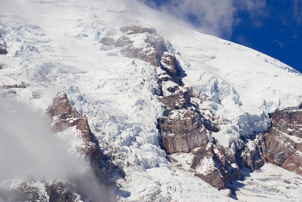 Glacier detail on Mount Rainier from Glacier Vista, Mount Rainier National Park, Washington