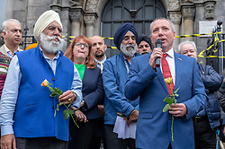 A Peace vigil has been held at a Sikh temple in the Leith district of Edinburgh. The vigil, called by the Muslim Women's Association of Edinburgh and supported by Stand up to Racism Edinburgh, follows a fire at the temple. A 49 year-old man has been charged over the incident.<br /> <br /> Pictured: Local councillor, Gordon Munro speaking during the vigil